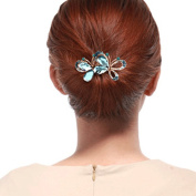YAZILIND Butterfly Style Bridal Hair Accessory Hair Barrette Hair Clip Pins for Women Girls Headdress-Blue