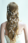 Missgrace Extra Long Bridal Wedding Gold Hair Vine Beads Wedding Headpiece with Beads Rhinestones and Flowers Floral Hair Vine