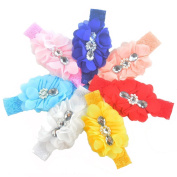 7 Pcs 7 Colour Chiffon Lace Flower Baby Girls Turban Headband Head Wrap With Pearl