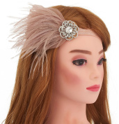 Women's Flapper Headpiece 1920s Gatsby Crystal Headbands for Women Sequin Headband with Feather Ostrich