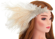 Women's Peacock Gatsby Party Wedding Headband with Ribbon Flapper Costumes Accessories Peacock Headband with Feather