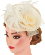 Womens Feather Mesh Net Sinamay Fascinator Hat with Headband Tea Party Derby