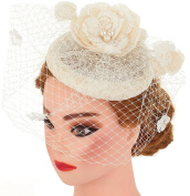 Ivory Lace Flower Fascinator Wedding Hair Clip Headpiece Cocktail Party Headwear With Net