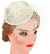 Pearl with Lace Flower Fascinator Wedding Headband Cocktail Party Headwear