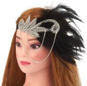 Women's Flapper Feather Headband 1920s Headpiece Vintage Hair Accessories Crystal Headband