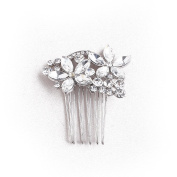 VANKOKO Rhinestone Crystal Flower Headpieces Hair Side Comb for Wedding Prom Silver