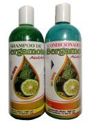 Bergamot Shampoo and Bergamot Conditioner ( SET ) 500 ml ea. 100% Natural, Hair Regroth & No more Dryness. Volume, Thickness and Brightness