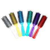 Luxxii (Pack 6) 19cm Plastic Clear Handle Nylon Bristles Brushes Hair Comb Designed for All Hair Types