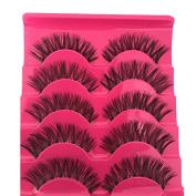 HENGSONG Soft 5 Pairs Long Thick Makeup Long False Eyelashes Eye Lashes