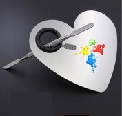 sea-junop Heart-shaped Stainless Steel Makeup Mixing Blending Palette Makeup Tool Set