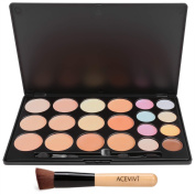 eshion Eshion Professional 20 Colours Base Makeup Concealer Foundation Face Cream Warm Eyeshadow Palette + Powder Brush