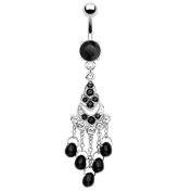 Belly Bar Navel Piercing Pearls Jewellery Punk Black 316L Surgical Steel