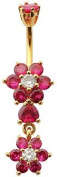 Blingbling GlitZ Women's Belly Bar Surgical Steel With Crystals Ring 10 mm red