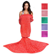 Wimaha Mermaid Blanket Crochet Fleece For Kids Adult Acrylic Mermaid Tail Blanket Knitting For Toddler Baby Girls Women 71L x 31.5W inches Red