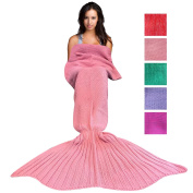 Wimaha Mermaid Blanket Crochet Fleece For Kids Adult Mermaid Tail Blanket Knitting For Toddler Baby Girls Women 71L x 31.5W inches Pink