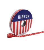 Americana Patriotic Ribbon 1cm x 2.7m Red with Ivory Stars