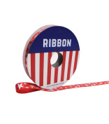 Americana Patriotic Ribbon 0.1mx 2.7m Red with Silver Stars
