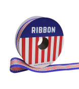 Americana Patriotic Ribbon 2.2cm x 2.7m Red & White Stripe with Blue Edge