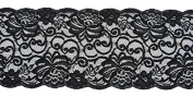 Ribbon Bazaar Lace A1269 Flat 16 cm Black By the Yard 100% Polyester