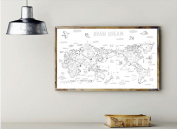 Drawing World Map With 12 Colour Pencils, 100cm X 60cm