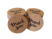 JKLcom Thank You Tags with String Brown Kraft Card Paper Tag Kraft Paper Gift Tags Wedding Party Favour Punch Label Price Gift Tags -100Pcs