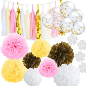 SOTOGO 46 Pcs Tissue Craft Decoration Kit Gold White Pink Ivory Paper Pom Poms Flowers Tassels Gold Confetti Balloons and Balloon Seal Clip for Wedding Birthday Party Decoration