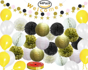 FASOTY Pack of 44 Black Gold White Tissue Paper Pom Poms Tassel Garland and Balloons for Wedding Themed Birthday Party Decorations