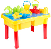 FunkyBuys® Kids 2 Compartments Sand and Water Table W/ Lid Summer Beach Fun Play Toy Set Sandpit Garden Party Children Gift Including Assorted Accessories- 45 cm x 30.5 cm x 27.8 cm-