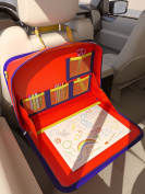 The Original Kids Travel Tray and Backseat Car Organiser. Holds Crayons Markers, iPad, Kindle, Tablet and Device Holder. For Road Trips and Air Travel. Organised Lap Tray Writing Surface