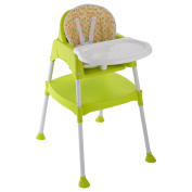 Costzon 3 in 1 Convertible High Chair Table Seat Booster Toddler Feeding with Tray, Green/White