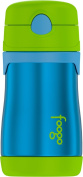 Thermos FOOGO Vacuum Insulated Stainless Steel 300ml Straw Bottle, Blue/Green