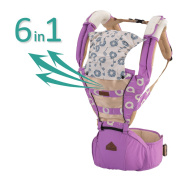 Baby Carrier Purple Mesh Hipseat - 2017 New Design Forward Facing Baby Carrier Backpack for Kids, Toddlers, Infants, New Dad and Mums, Including Detachable Hood Side Pocket and 2 Cotton Baby Bibs