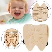 AMA(TM) Kids Baby Boy Girl Milk Teeth Wood Storage Box Organiser Holder Keepsake
