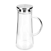 SMAGREHO Glass Pitcher with Stainless Steel Lid and Spout 1480ml Water Carafe for Hot/Cold Water with Handle, Good Beverage Pitcher for Homemade Juice & Iced Tea