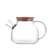 ONEISALL GYBL011 Heat Resistant Glass Teapot with Bamboo Lid, Glass Water Pitcher for Cold or Hot Water, Juice, Iced Tea, 980ml