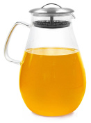 Water Pitcher Superbpag 1890ml Borosilicate Glass Beverage Pitcher with Stainless Steel Lid & Sprout