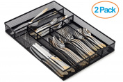 Halter Steel Mesh Large Cutlery Tray with Foam Feet - Kitchen Organisation / Silverware Storage - 41cm X 29cm X 5.1cm - 2 Pack
