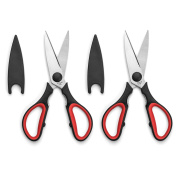 Multi-purpose Kitchen Scissors Set of 2 with Protective Cap, Corrosion Resistant Serrated Stainless Steel Shears, Heavy Duty, Ultra Sharp, Red and Black, Plus Cooking Secrets eBook