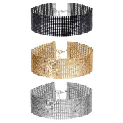 Tpocean 3 Pcs Women's Gold and Black Thick Rhinestone Metal Sequins Choker Necklace Set for Girls