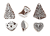 Hashcart Baren for Block Printing Stamps/Wooden Stamping Block/Handcarved Designer Craft Printing Pattern for Saree Border,Henna/Textile Printing,Scrapbooking,Pottery Crafts & Wall Painting,Set of 6