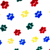 "Multi-Coloured Heart Paws on White Anti Pill Animal Theme Fleece Fabric, 60"" Inches Wide – Sold By The Yard"