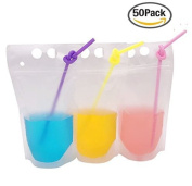 Drink Bags Stand up Reclosable Zipper Drinking Pouches with Plastic Straw, 13cm by 23cm , Translucent, 8 mil, 50 Pack