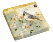 Evergreen Cocktail Beverage Paper Napkins - Aero Postale Tufted Titmouse 20 ct