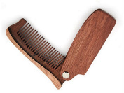 Folding Beard Comb, Moustache and Beard and Hair Grooming Anti-Static Wooden Comb n for Men