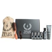 Zeus Goatee Care Set (Sandalwood)- Beard Shampoo and Conditioner, Beard Oil Coffret, Natural Horn Moustache Comb, and Beard Brush