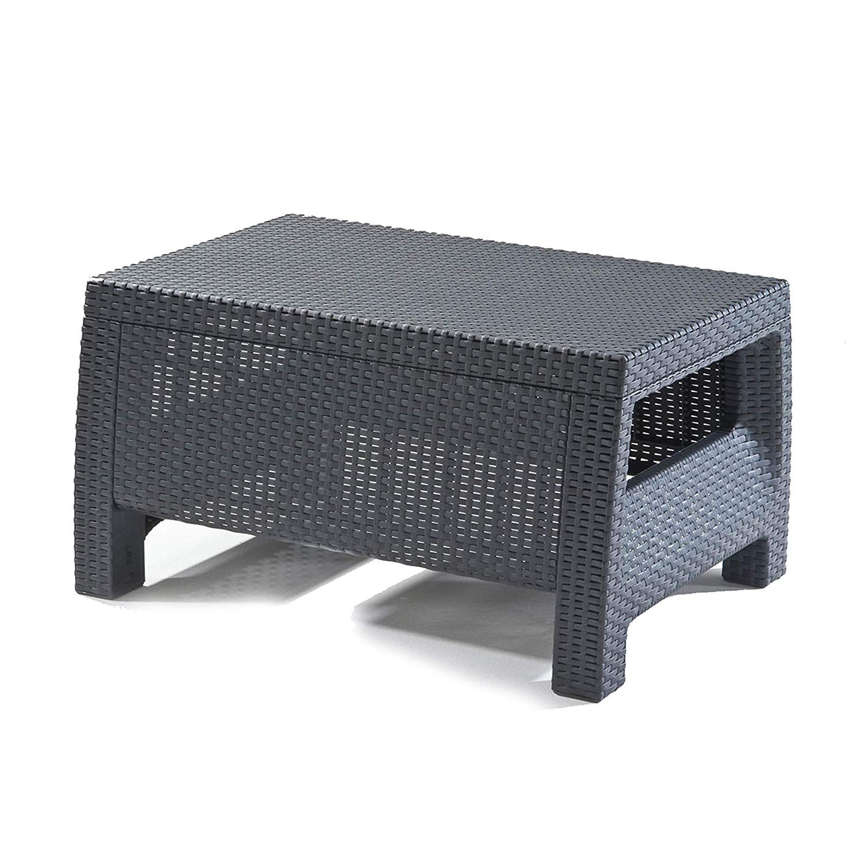 Keter Corfu Rattan Outdoor Garden Furniture Coffee Table Graphite