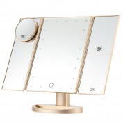 Lighted Makeup Mirror, Magicfly 10X 3X 2X 1X Magnifying Mirror 21 LED Lighted Tri-Fold Makeup Mirror with Touch Screen USB Charging and 180° Adjustable Stand Travel Beauty Mirror