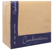 100 Apricot Cream 2Ply Paper Napkins Serviettes Tissues 33cm Party Tableware Catering