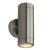 Saxby Odyssey 35W Twin Brushed Stainless Steel IP65 Outdoor Up Down Wall Light