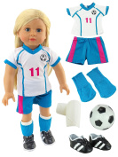 Pink & Teal Soccer Player Outfit with Uniform, Shin Guards, Socks, Soccer Ball, and Shoes | Fits 46cm American Girl Dolls, Madame Alexander, Our Generation, etc. | 46cm Doll Clothes